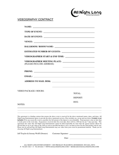 one page videography contract