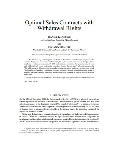 optimal sales contract