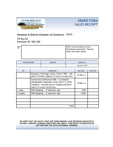 order form sales receipt