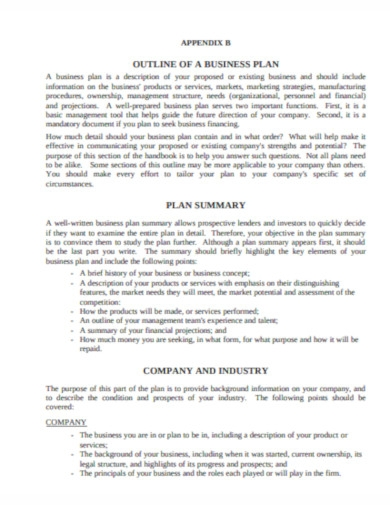 outline company business plan