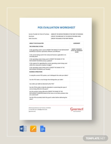 pos evaluation worksheet template