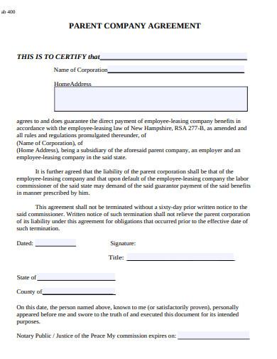 parent company agreement