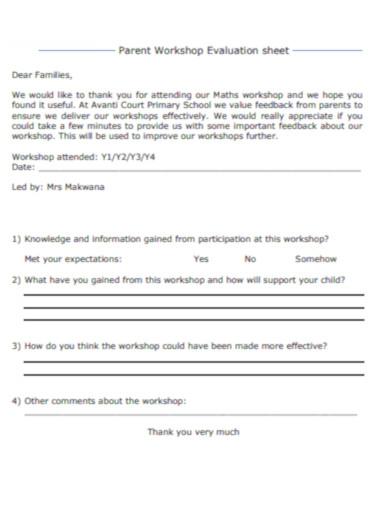 parent workshop evaluation sheet