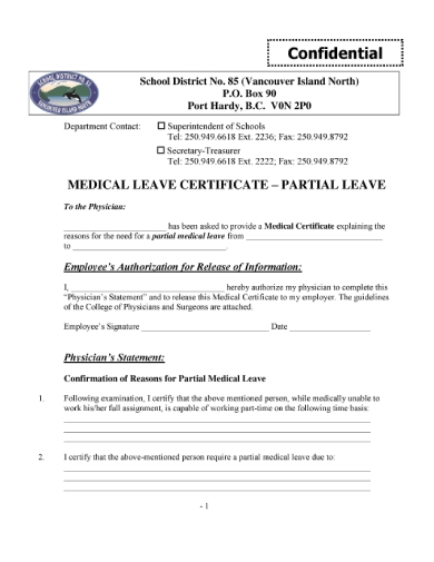 partial medical leave certificate