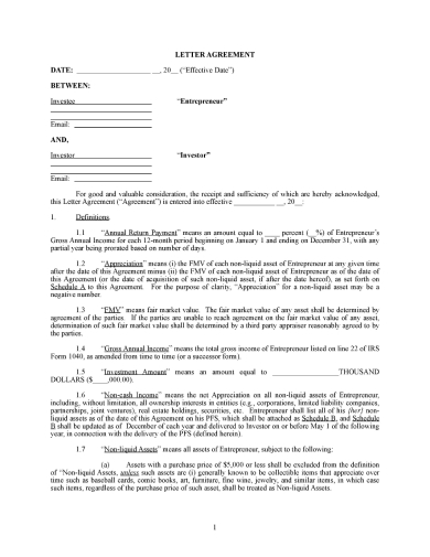 personal investment letter agreement between investor and investee