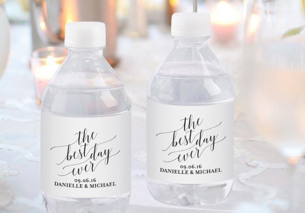 personalized wedding water bottle label