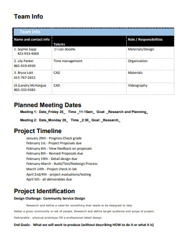 planned project meeting timeline