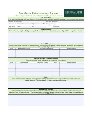 post travel reimbursement request form