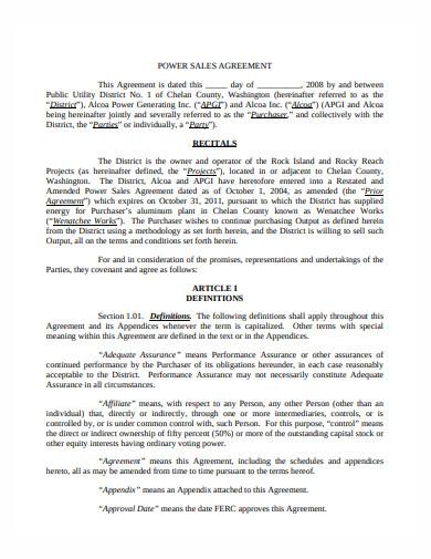 power sales agreement