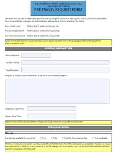 pretravel request form