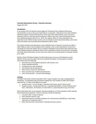 preschool absenteeism survey