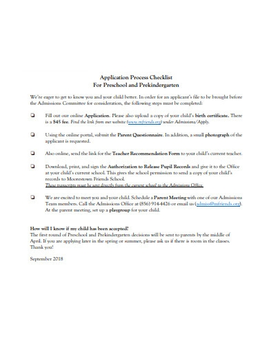 preschool application process checklist
