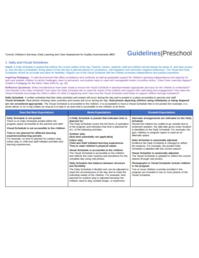preschool assessment quality guidelines