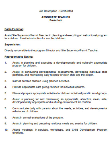 preschool associate teacher job description