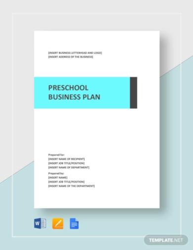 preschool business plan template