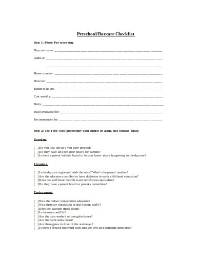 preschool checklist example in doc