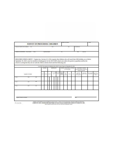 preschool children survey