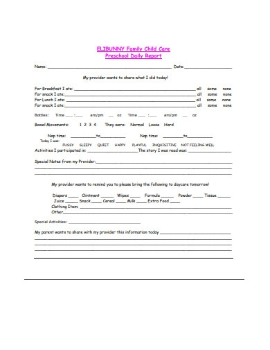 preschool daily report template