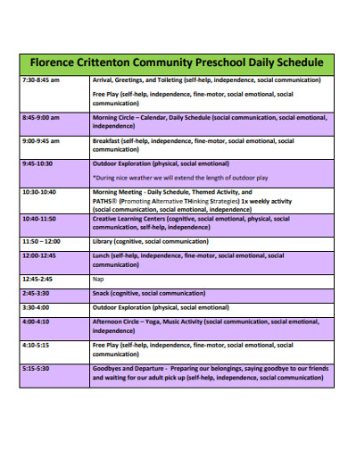 preschool daily schedule clipart