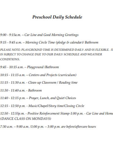preschool daily schedule example