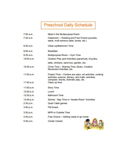 preschool daily schedule example