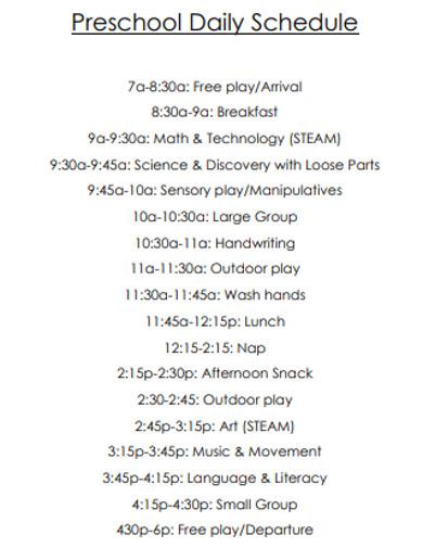 preschool daily schedule format