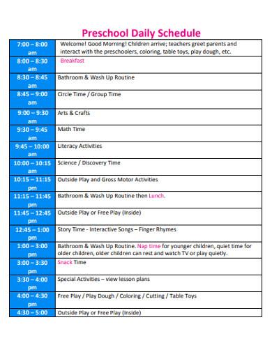 preschool daily schedule in pdf