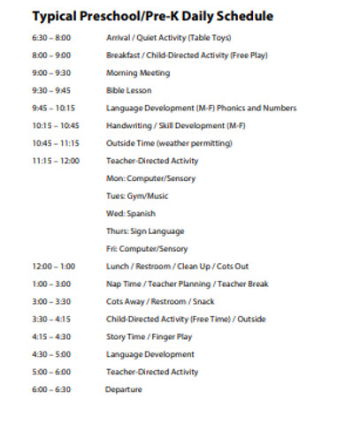 preschool daily schedule in pdf example