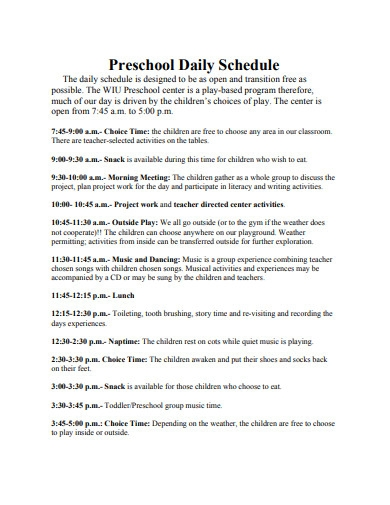preschool daily schedule in pdf
