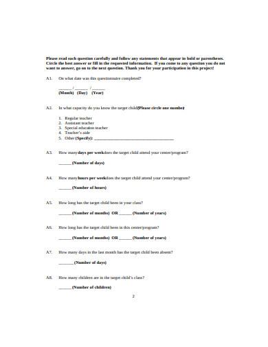 preschool daycare teacher questionnaire