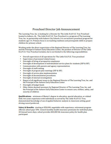 preschool director job announcement