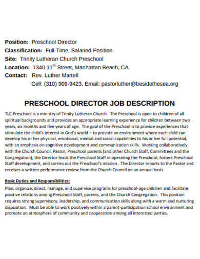 preschool director job description
