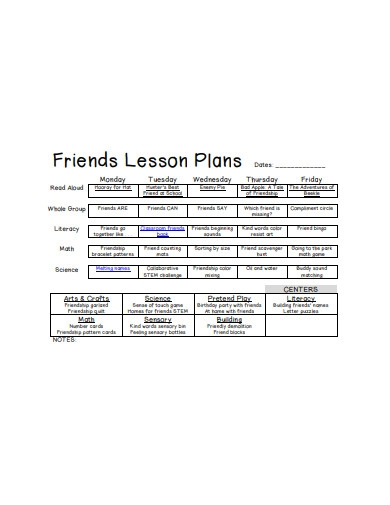 preschool friends lesson plan