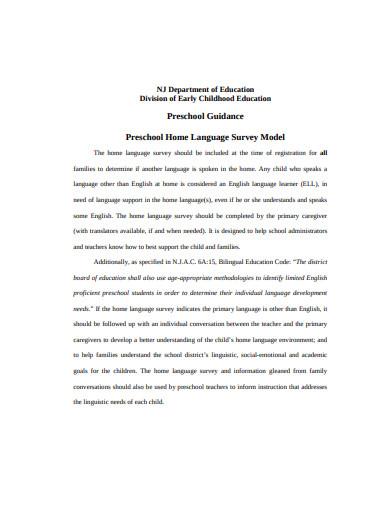preschool home language survey