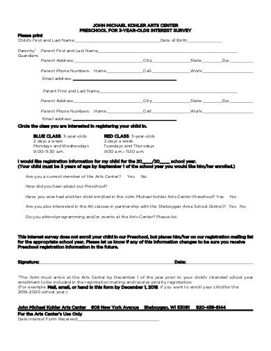 preschool intrest survey
