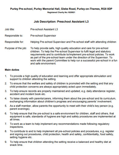 preschool job description template