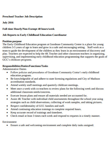 preschool job description in pdf