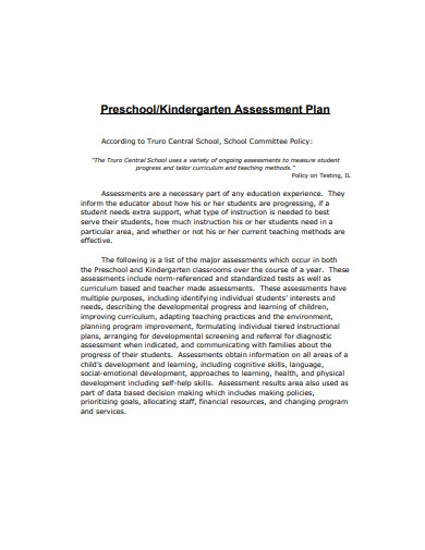 preschool kindergarten assessment plan