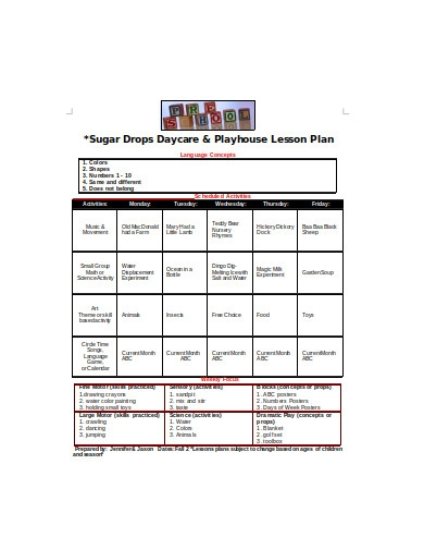 preschool lesson plan example