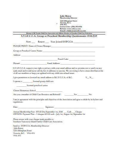preschool membership questionnaire