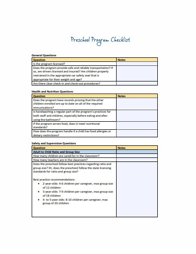 preschool program checklist