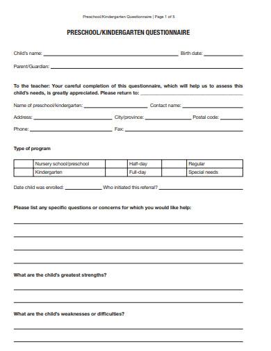 preschool questionnaire template