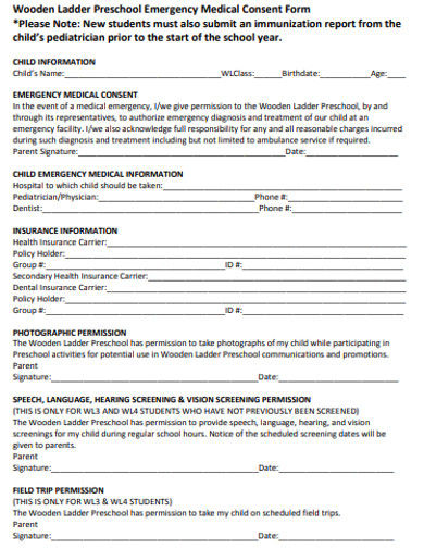preschool registration form template