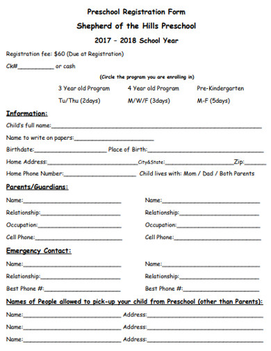 preschool registration form in pdf