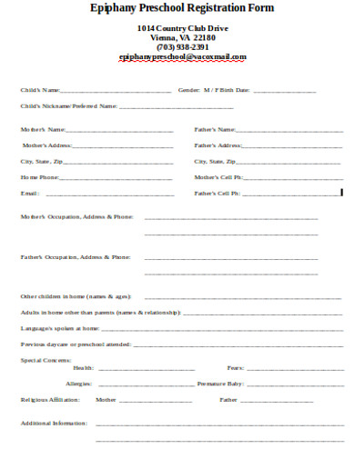 preschool registration form
