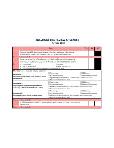 preschool review checklist