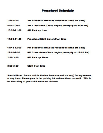 preschool timing schedule