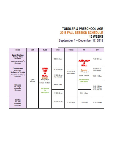 preschool week session schedule