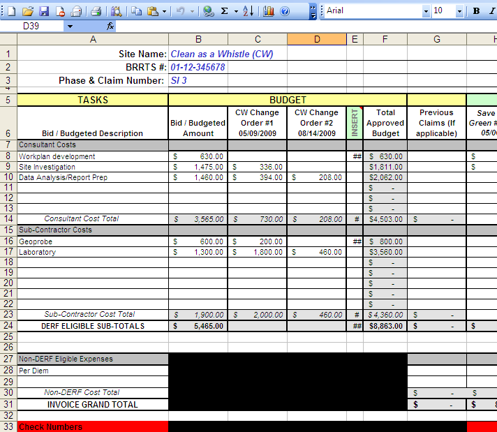 price cost tracking sheet