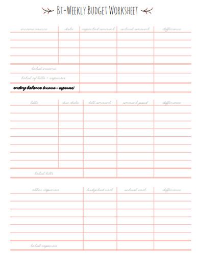 printable bi weekly budget